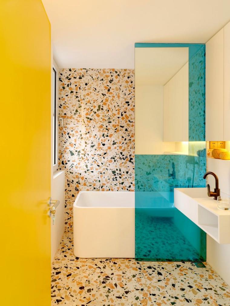 come arredare un bagno piccolo rettangolare box doccia vasca maioliche lavabo