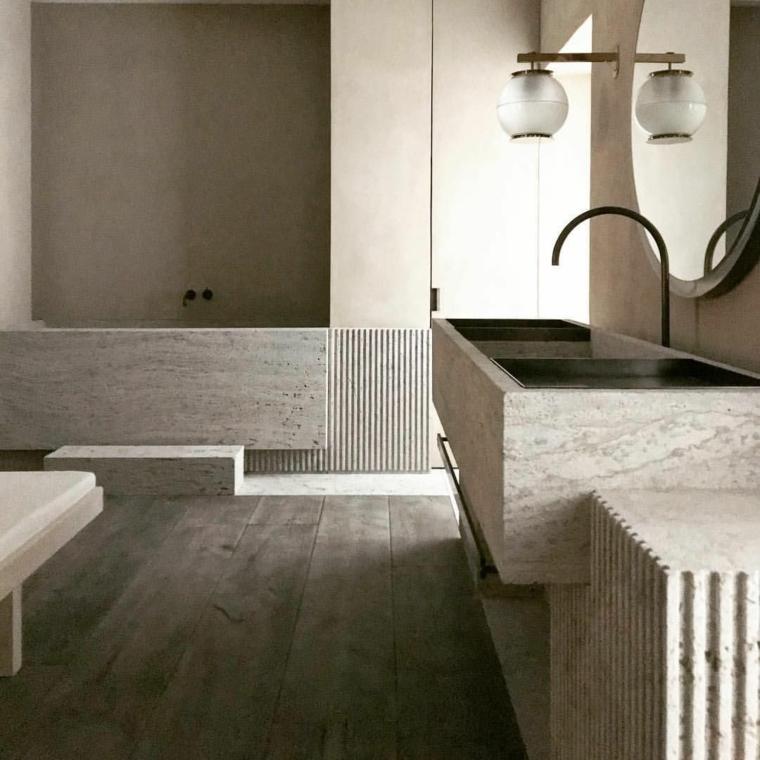come arredare un bagno piccolo rettangolare vasca mobile lavabo incasso rivestimento effetto pietra