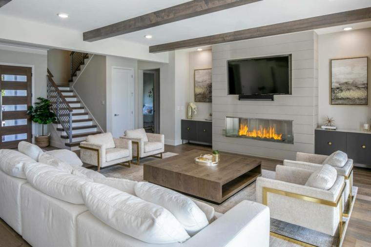 come arredare un soggiorno rettangolare tavolino legno divani parete attrezzata camino tv