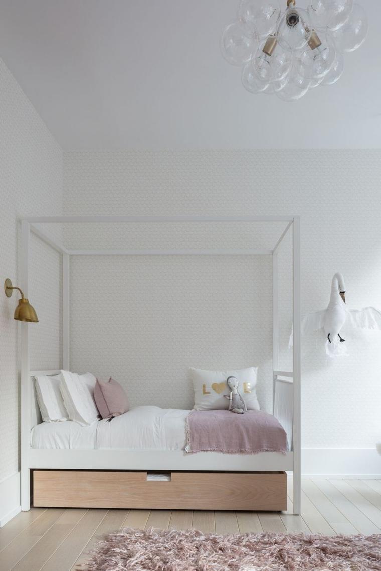 come arredare una camera da letto bambina ragazza cuscini lampadario tappeto