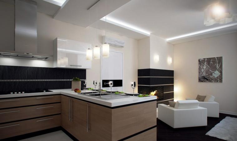 come arredare una cucina moderna isola laterale top porcellana fornelli divano soggiorno camino