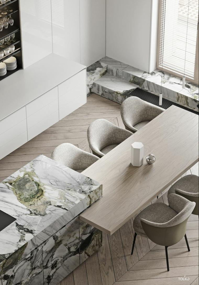 come arredare una cucina moderna tavolo legno top isola marmo sedie mensole a vista