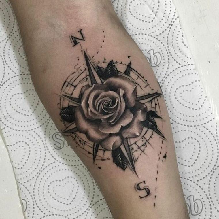 come disegnare la rosa dei venti avambraccio uomo disegno stella cerchio direzioni bussola