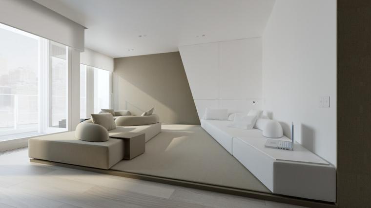 come disporre due divani in salotto colore beige finestra mobile bianco soppalco