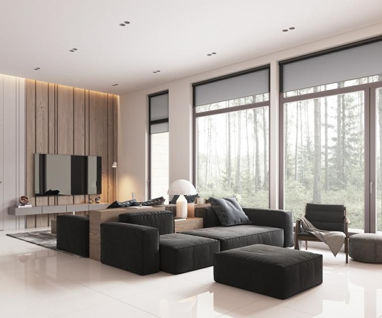 come disporre due divani in salotto finestre tv pavimento piastrelle bianche faretti soffitto soggiorno