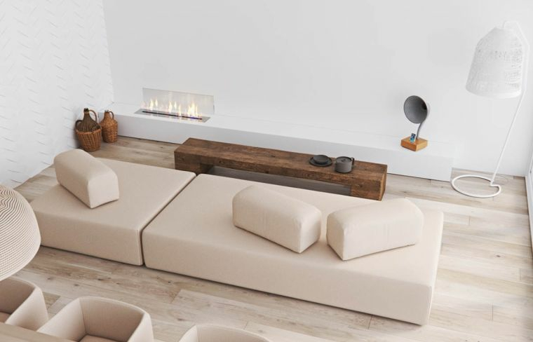 come disporre due divani in salotto tavolino legno parete bianca lampadario
