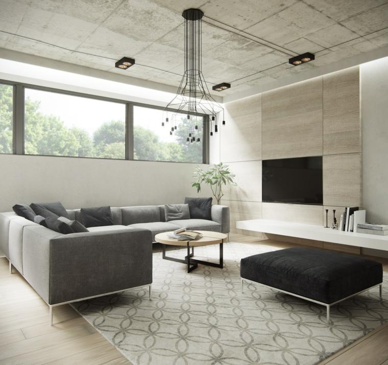 come disporre i divani in soggiorno angolare grigio tavolino tappeto lampadario tv parete attrezzata
