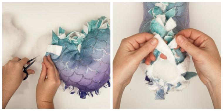 come rivestire un cuscino forma cuore fodera tessuto lustrini nodi mano donna