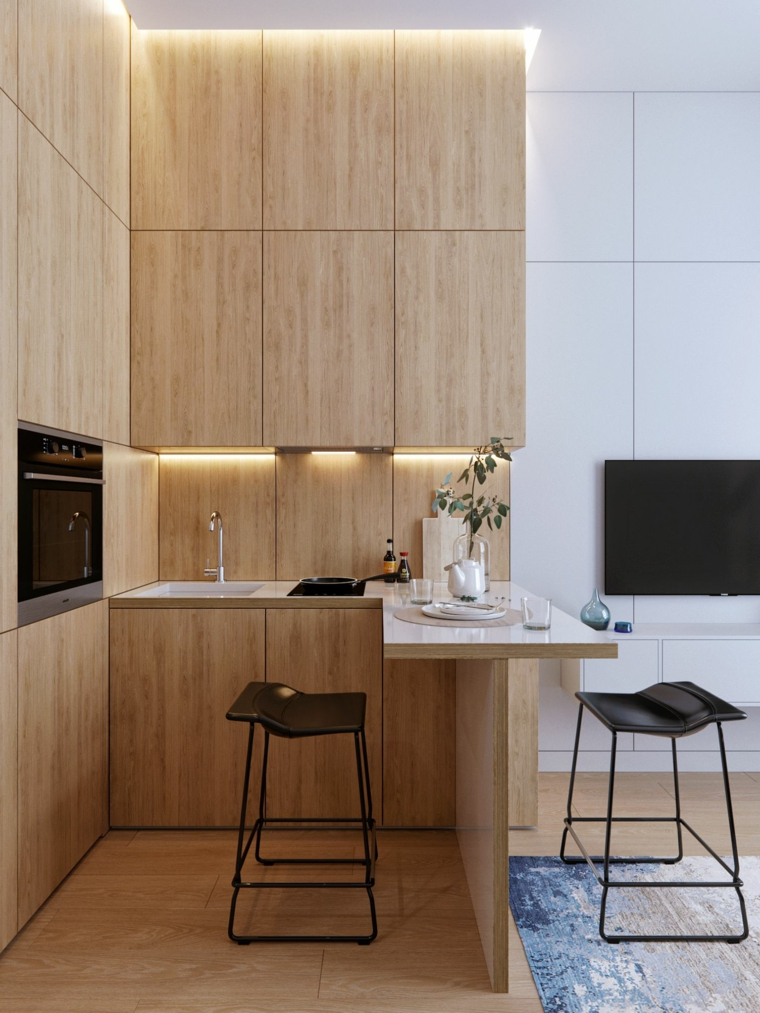 cucina ad angolo con penisola tavolo colazione sgabelli mobili legno illuminazione nascosta