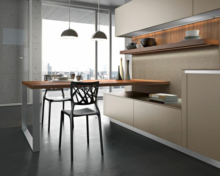 cucina con isola dimensioni minime top legno sgabelli mensola a vista lampade finestra