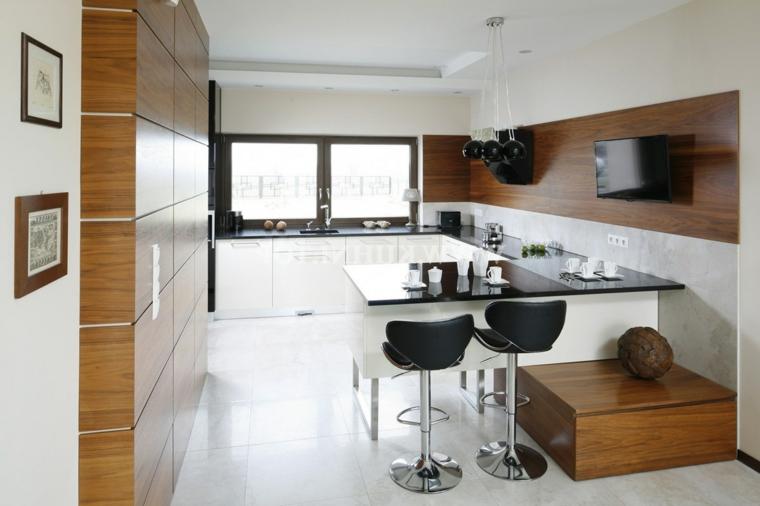 cucina con piccola penisola sgabelli mobili rivestimento legno pavimento piastrelle