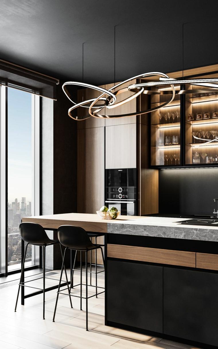 cucine moderne con frigo esterno tavolo isola sgabelli scaffali vista porticine vetro