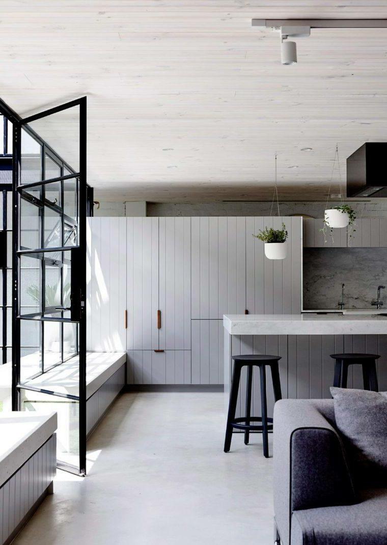 cucine moderne con penisola mobili legni bianco open space soggiorno piastrelle pavimento