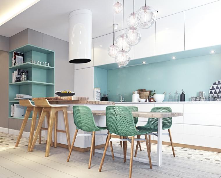 cucine moderne con penisola sgabelli sedie paraschizzi lampadario mensole mobili scaffali