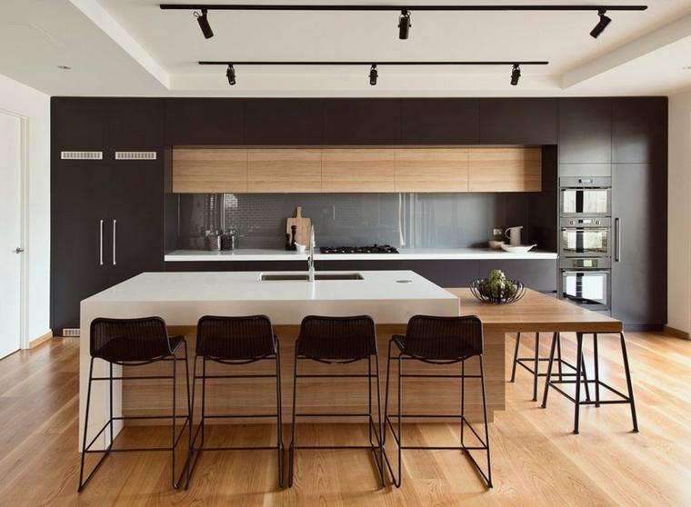 cucine moderne con penisola tavolo prolungato legno sgabelli faretti soffitto parete nera