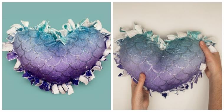 cuscini decorativi per divano senza cuciture nodi tessuto colorato lustrini forma cuore