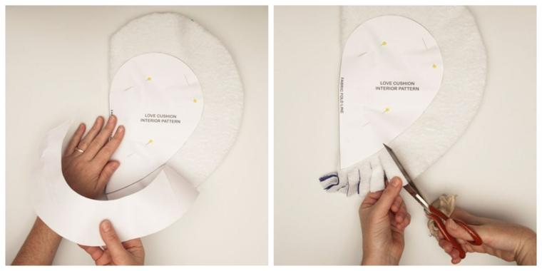 cuscini particolari fatti a mano ritagliare stencil forbici fodera tessuto forma cuore