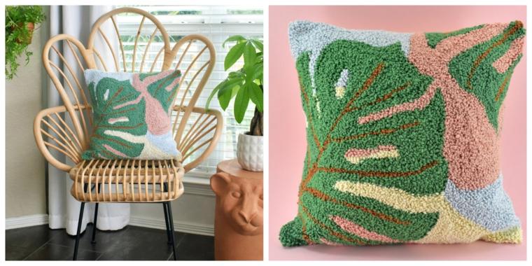 cuscino fai da te poltrona legno stencil foglia verde fili lana telaio tela buchi
