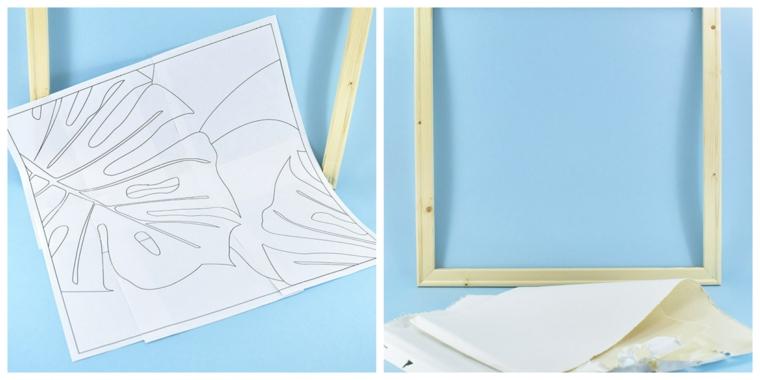 cuscino fai da te tutorial cornice legno stencil foglio a4 disegno foglia