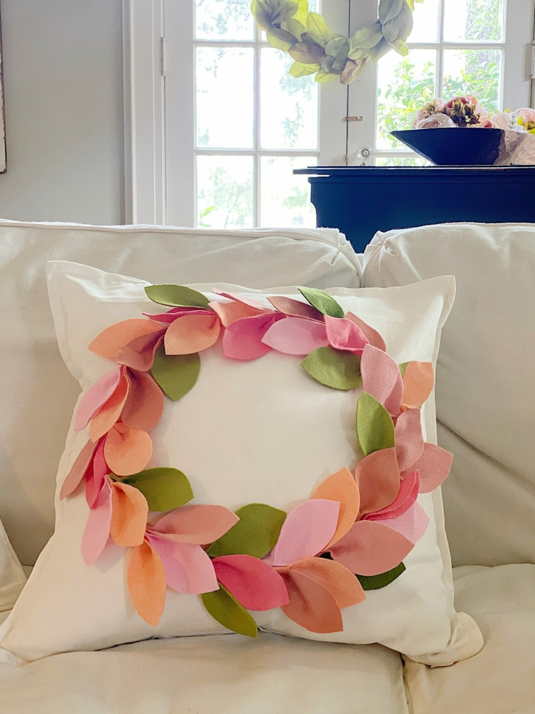 cuscino fodera decorata foglie corona petali divano soggiorno decorazioni