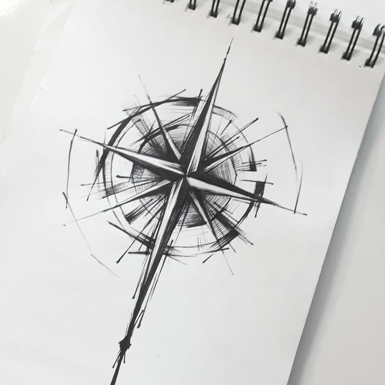disegno rosa dei venti tatuaggio piccola stella raggi cerchio schizzo foglio bianco
