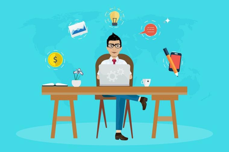 disegno uomo scrivania lavorare come freelancer disegni colorati sfondo blu
