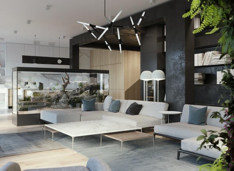 divani per piccoli spazi tavolino marmo cucina open space parete divisoria vetro acquario