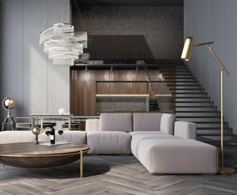 divano angolare bianco scale interne soggiorno lampadario pavimento parquet