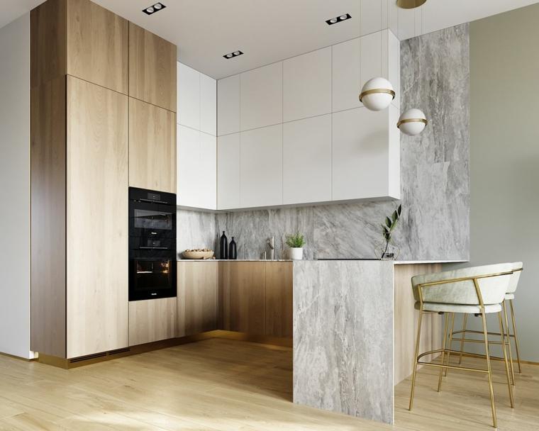 forno lampada cucine con bancone colazione pavimento parquet parete rivestimento marmo