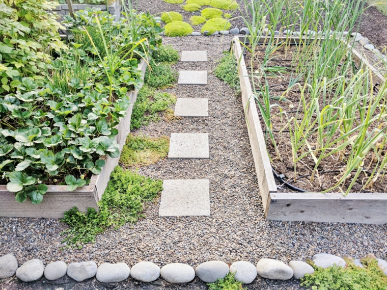 ghiaia da giardino sassi bordure per aiuole in pietra piante fiori sentiero