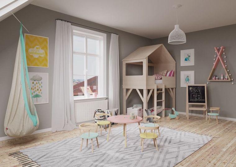 giochi bambini camera da letto idee originali tappeto decorazioni finestra tende
