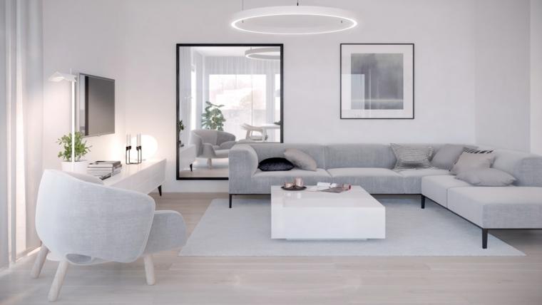 idee arredamento soggiorno divano grigio angolare poltrone tavolino bianco tappeto