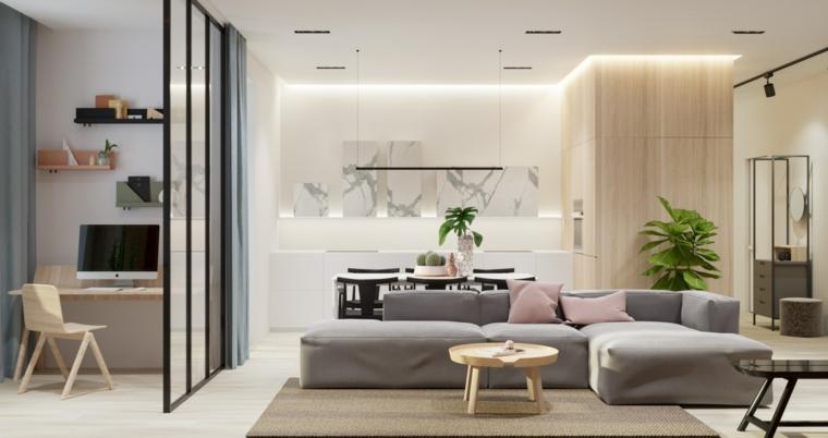 idee arredamento soggiorno divano grigio angolare tavolino legno tappeto scrivania parete divisoria
