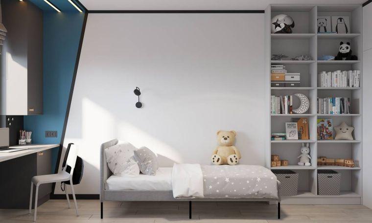 idee per arredare camerette per bambini letto scrivania mensole parete dipinta
