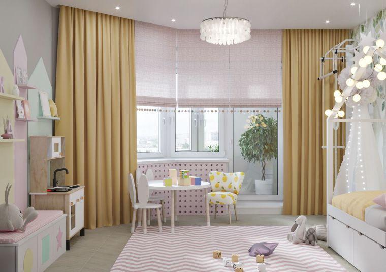 idee per arredare camerette per bambini tende finestra letto velo tappeto