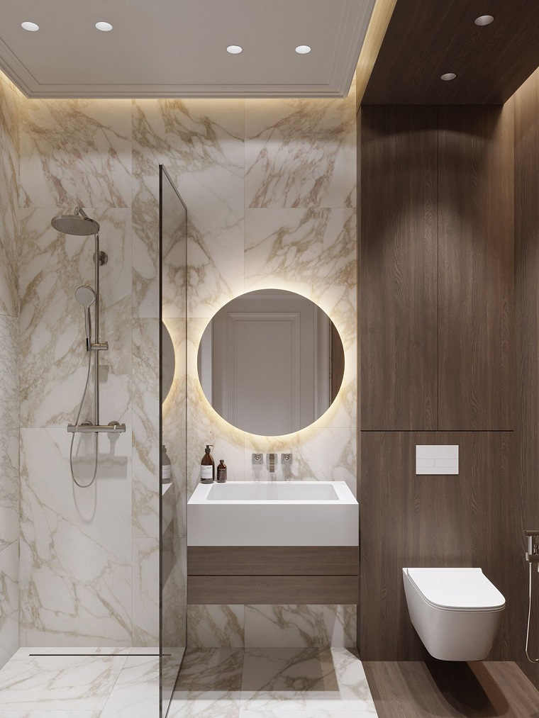 idee rivestimento bagno box doccia vetro pannelli specchio retro illuminazione mobile lavabo