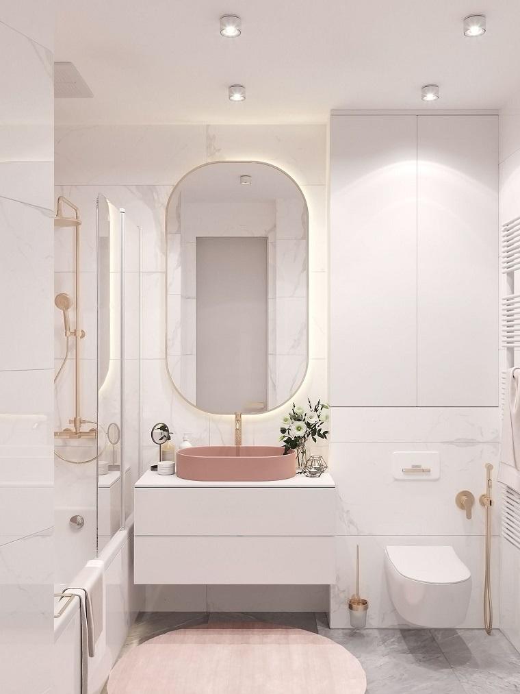idee rivestimento bagno lavabo appoggio rosa box doccia piastrelle pareti
