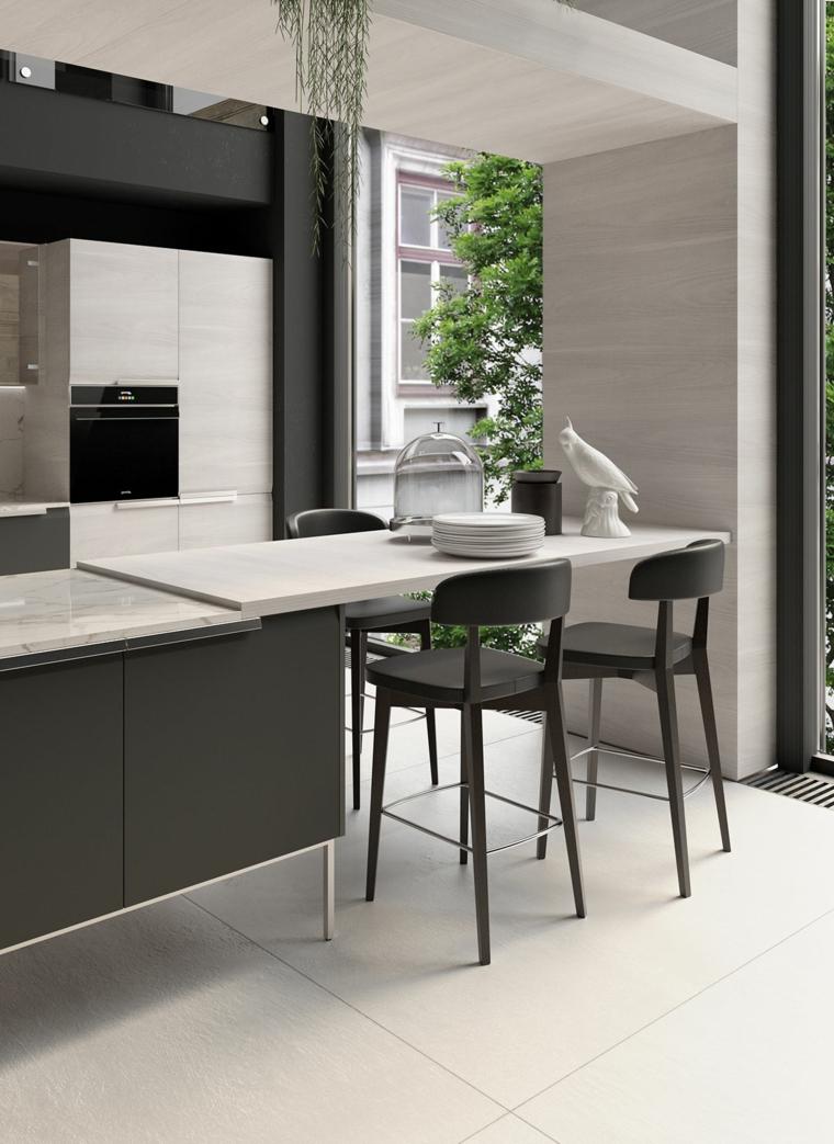 immagini cucine moderne isola tavolo piatti sgabelli top marmo pavimento piastrelle