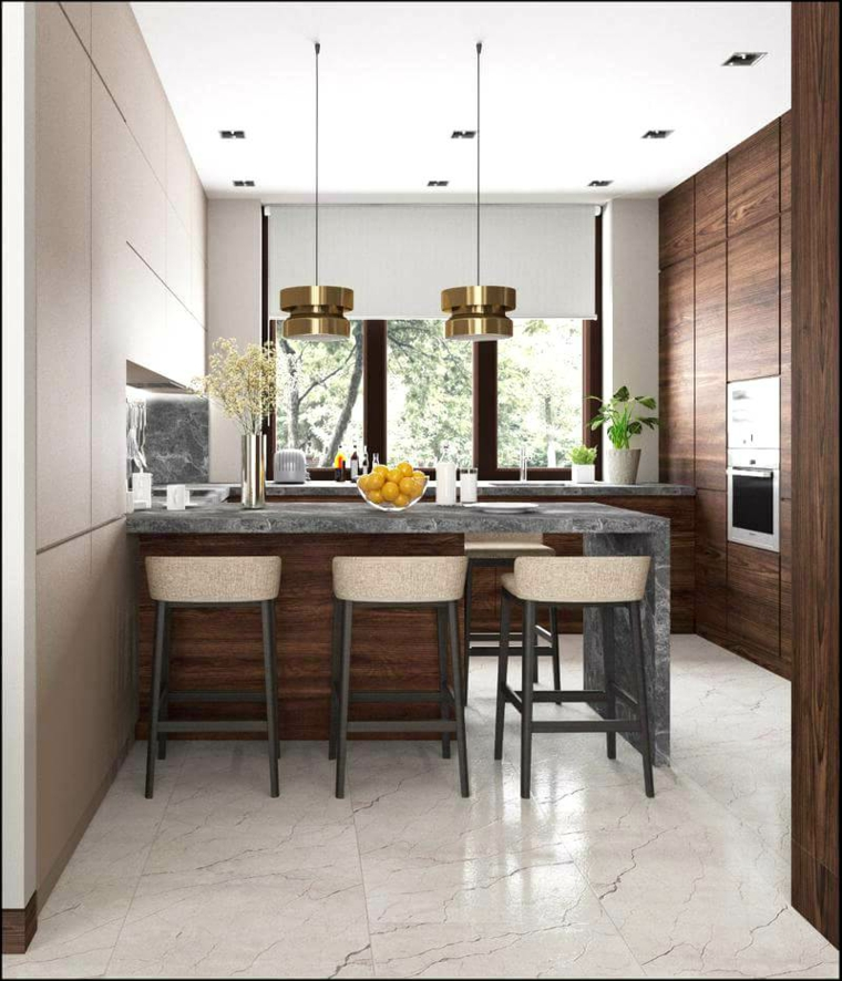 isola cucina con sgabelli rivestimento top marmo lampade faretti pavimento piastrelle