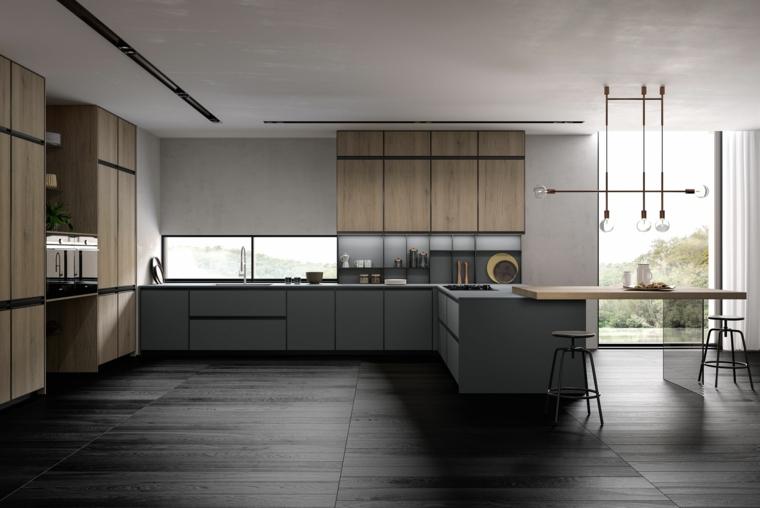 isola cucina con sgabelli tavolo prolungato legno pavimento legno parquet lampadario