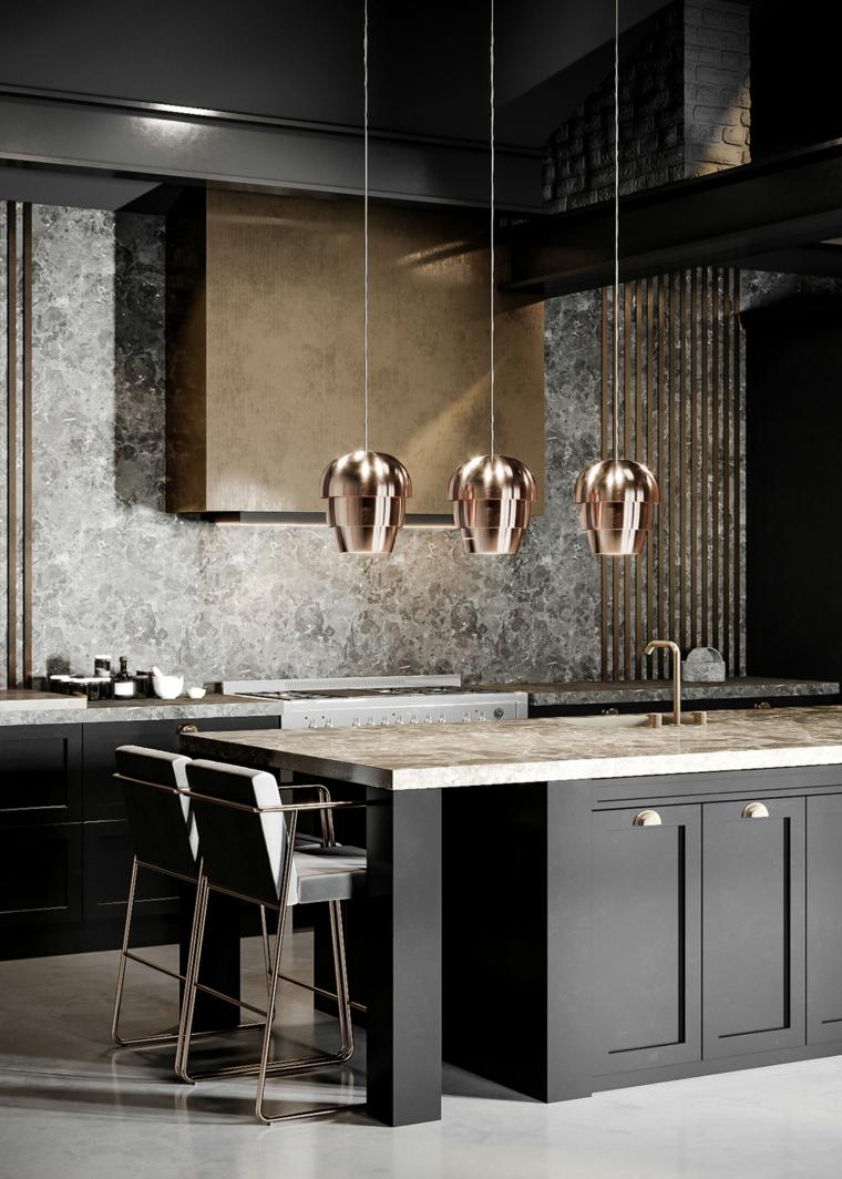 isola cucina legno lampadario sospeso sgabelli paraschizzi marmo top piastrelle pavimento