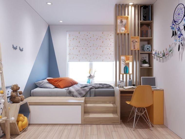 letto soppalco scale camerette particolari per bambini scrivania sedia mensole pavimento legno parquet