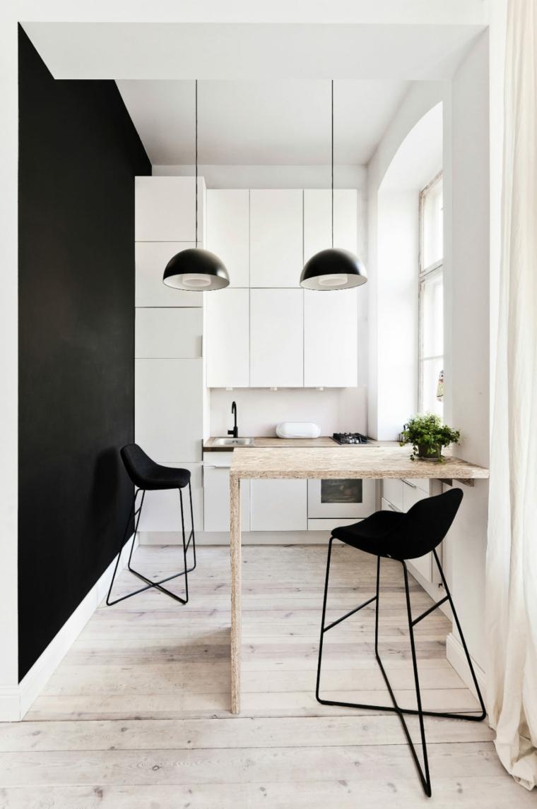 mobili cucina con isola dimensioni minime sgabelli tavolino alto legno lampade finestra