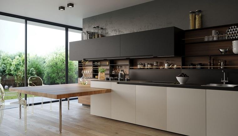 mobili legno bicole cucine con bancone colazione tavolo legno finestra