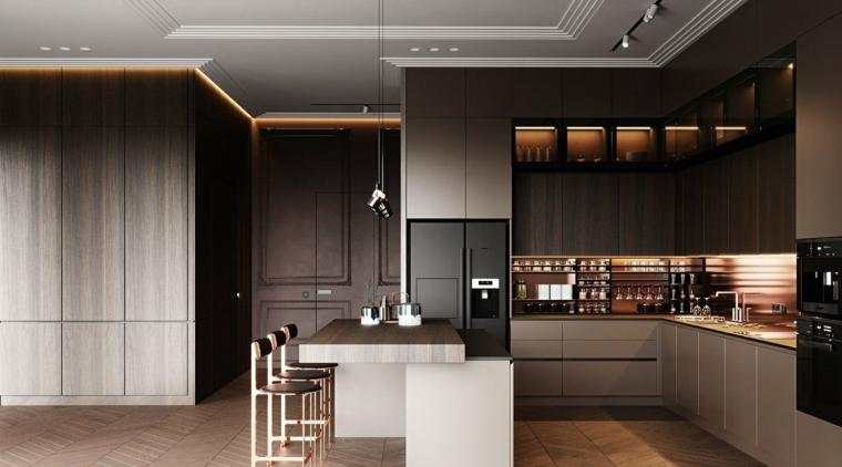 mobili legno cucina con isola e tavola sgabelli illuminazione nascosta pavimento parquet