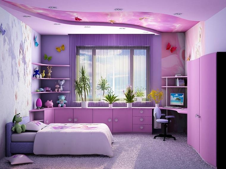 parati mobili viola come arredare una cameretta piccola per ragazza finestra mobili