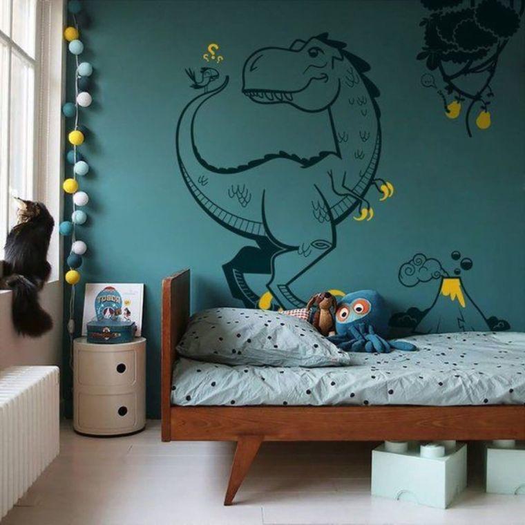 parete dipinta disegno dinosauro idee per arredare camerette per bambini letto legno giochi