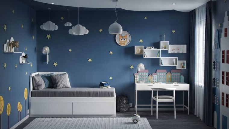 pareti blu sticker adesivi nuvole letto cassetti scrivania sedia finestra tappeto