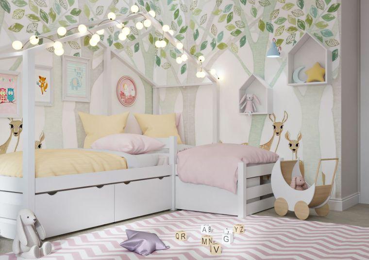 pareti cameretta carta da parati disegni foglie come arredare una cameretta piccola per ragazza tappeto filo lucine