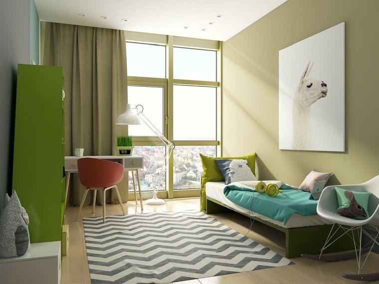 pareti verdi camera da letto idee originali bambina tappeto zembra finestre armadio scrivania